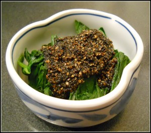 Spinach goma ae - $5.50 - a bit expensive for some boiled spinach with black sesame sauce, and not as good as expected. The sesame sauce could use less sugar and more salt.