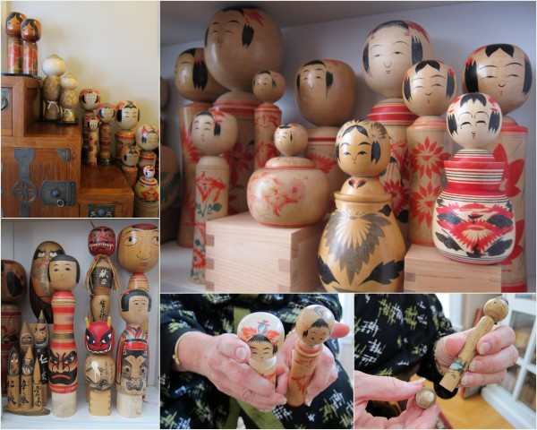 A very small part of Nancy's kokeshi collection. Click on the image to see better details.