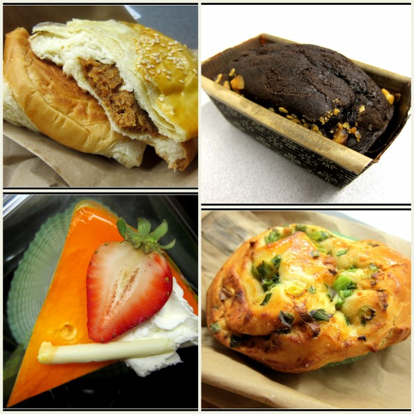 Clockwise from top left: pork bun, mango mousse, pork-and-green-onion roll, macadamia black devil (basically, rectangular chocolate muffin with nuts)