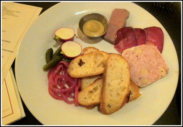 Housemade charcuterie plate ($15) - rabbit pate: ok; duck liver flan: I've had better's; air dried beef: well, it's dried meat... Good pickled onion though.