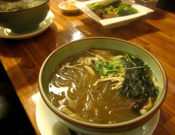 Kinoko harusame ($8.50) - potato starch glass noodle soup with mushroom (shimeji, eryngii, enoki, hiratake (oyster mushroom), portobello mushroom and shiitake.