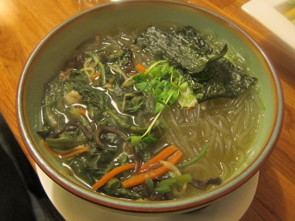 Sansai harusame - potato starch glass noodle soup with bracken, bamboo shoots, carrots, woodear mushroom and some kinds of greens