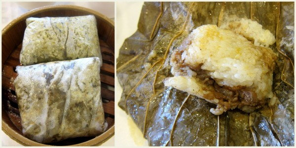 Lo mai gai ($4.25) - sticky rice with chicken wrapped in lotus leaf