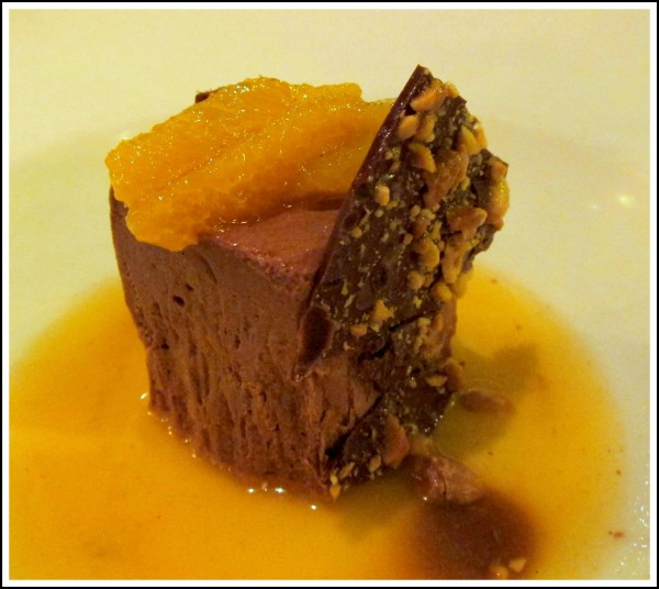 Chocolate semifreddo ($9) - with orange brodo, caramel, peanut and ...