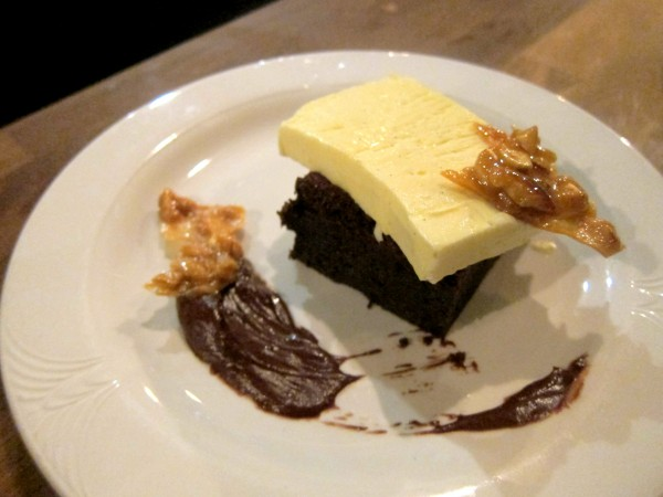Hot fudge brownie with vanilla semifreddo and cashew brittle ($8) - It was as rich as you would expect.