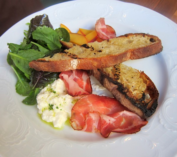 Housemade ricotta, peaches, housemade spicy coppa and grilled bread ($12) - Best ricotta I ever had.