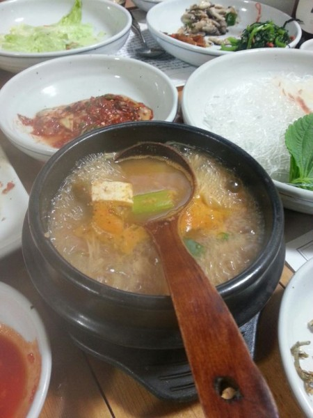 The meal always ends with soup and rice. This is  doenjang jjigae (bean paste soup).