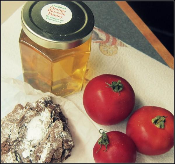 Orange blossom honey, tomatoes and chocolate macaroon.