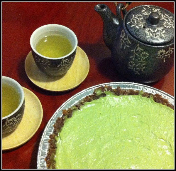 Avocado pie with gyokuro.