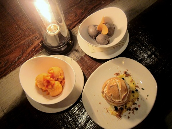 Persimmon sorbet, black sesame ice cream and baked alaska.