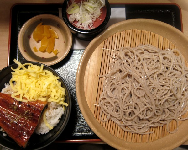 Unagi rice with cold soba (680 yen) at some noodle shop on Waseda Dori, Chiyoda.