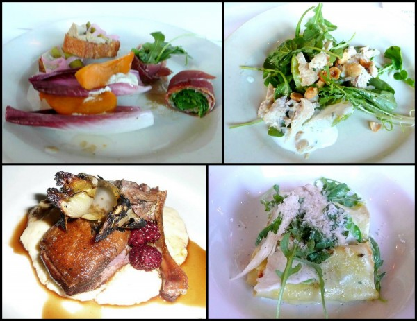 "Clockwise from top left: ""Oregon finger food"", smoked trout salad, fava bean cannelloni, Liberty Ranch duck. Image courtesy of Nancy Togami."