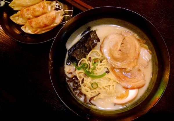 Tonkotsu ramen with a side of gyoza. ($10.99)